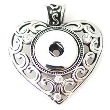 Clicks Sieraden Clicks hanger crystal vintage heart zilverkleurig