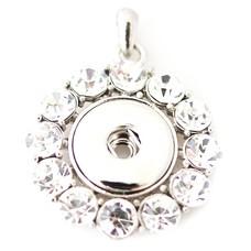 Clicks Sieraden Clicks hanger round big crystal zilverkleurig