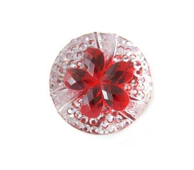 Clicks en Chunks | Click bloem rood met strass voor clicks sieraden