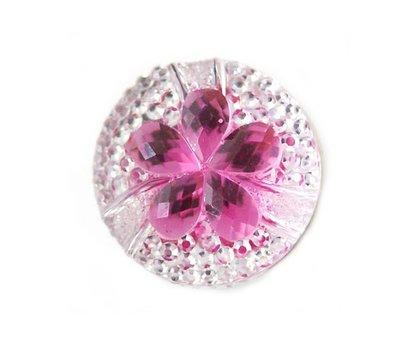 Clicks en Chunks | Click bloem met roze strass voor clicks sieraden