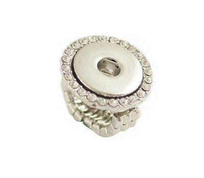 Clicks Sieraden Clicks flexibele ring met strass zilverkleurig