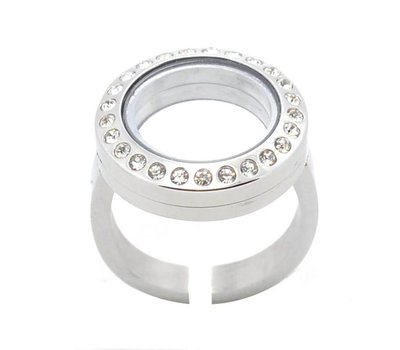 Floating locket Memory locket verstelbare ring met strass zilverkleurig