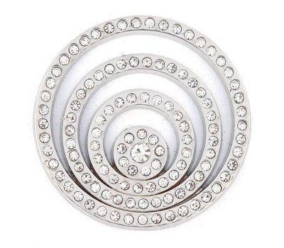 Munt voor Muntketting Crystal Cirkels Zilverkleurig