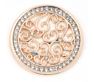 Munt voor Muntketting Indian vintage witte crystals rose goudkleurig
