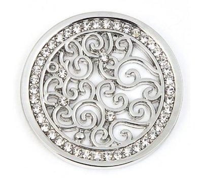 Munt voor Muntketting Indian vintage witte crystals zilverkleurig