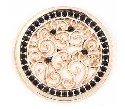 Munt voor Muntketting Indian vintage zwarte crystals rose goudkleurig