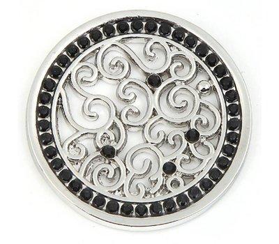 Munt voor Muntketting Indian vintage zwarte crystals zilverkleurig
