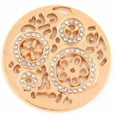Munt voor Muntketting Wheels met crystals goudkleurig