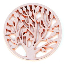 Munt voor Muntketting Levensboom rose goudkleurig