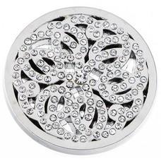 Munt voor Muntketting Flower crystals zilverkleurig