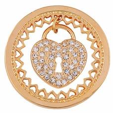 Munt voor Muntketting Heart key lock goudkleurig