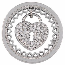 Munt voor Muntketting Heart key lock zilverkleurig