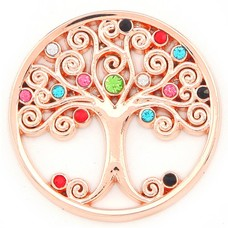 Munt voor Muntketting Levensboom multi color crystals rose goudkleurig