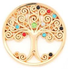 Munt voor Muntketting Levensboom multi color crystals goudkleurig