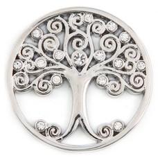Munt voor Muntketting Levensboom witte crystals zilverkleurig