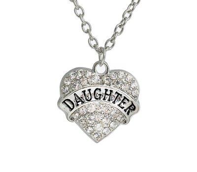 Moederdag cadeau Ketting met daughter en witte crystals