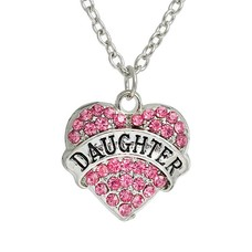 Moederdag cadeau Ketting met daughter en roze crystals