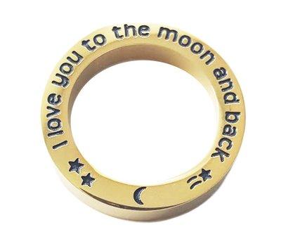 Floating locket  discs Memory locket open disk i love you to the moon goudkleurig large