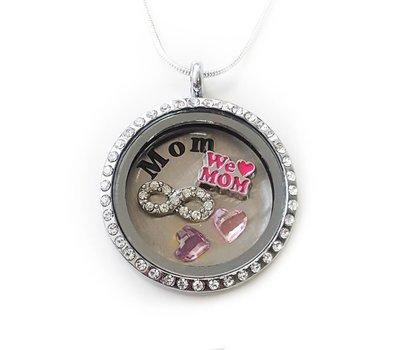 Moederdag cadeau Memory locket Ketting We Love mom