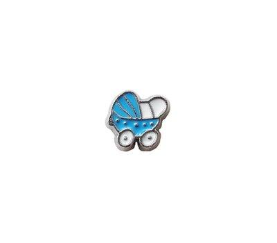 Floating Charms Floating charm blauwe kinderwagen voor de memory locket