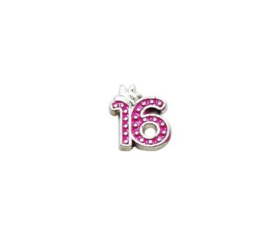Floating Charms Floating charm 16 roze voor de memory locket