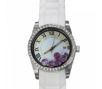 Floating locket Twist rvs zilverkleurige memory locket horloge wit