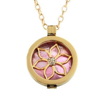 Complete Muntketting Pink Pearl Flower Goudkleurig