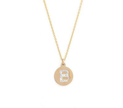 Ketting met letter Letter Ketting Crystal B goudkleurig van roestvrij staal.