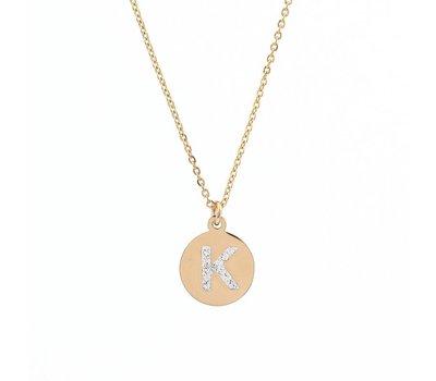 Ketting met letter Letter Ketting Crystal K goudkleurig van roestvrij staal.