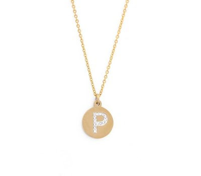 Ketting met letter Letter Ketting Crystal P goudkleurig van roestvrij staal.