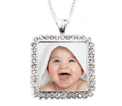 Ketting met foto Ketting met foto hanger vierkant crystals zilverkleurig