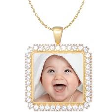 Ketting met foto Ketting met foto hanger vierkant crystals goudkleurig