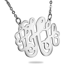 Ketting met letter Monogram Ketting Letter H Zilverkleurig van Roestvrij staal