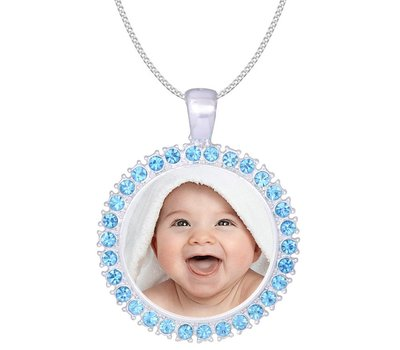 Ketting met foto Ketting met foto hanger blauw met crystals