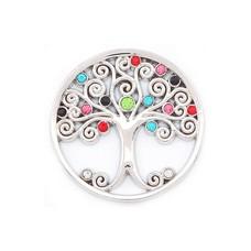 Munt voor Muntketting Levensboom smal multi color zilverkleurig