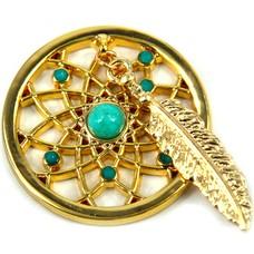 Munt voor Muntketting Dromenvanger turquoise goudkleurig