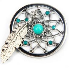 Munt voor Muntketting Dromenvanger turquoise zilverkleurig