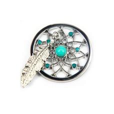 Munt voor Muntketting Dromenvanger smal turquoise zilverkleurig