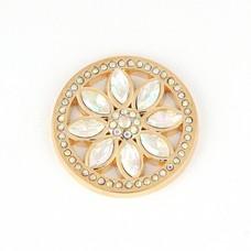 Munt voor Muntketting Beautiful rose smal witte crystals goudkleurig