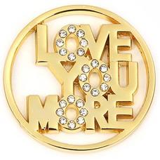 Munt voor Muntketting Love you more goudkleurig