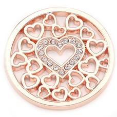 Munt voor Muntketting Love hearts rose goudkleurig