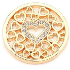 Munt voor Muntketting Love hearts goudkleurig