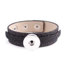 Clicks Sieraden Clicks armband leer glitter zwart