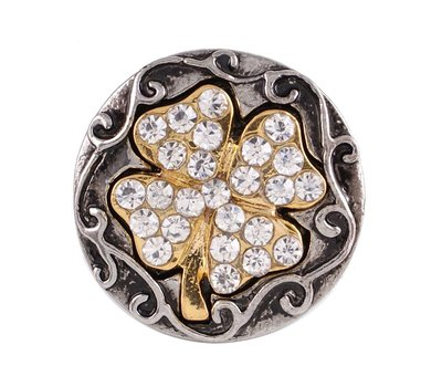 Clicks en Chunks | Click klavertje vier goudkleurig crystals voor clicks sieraden
