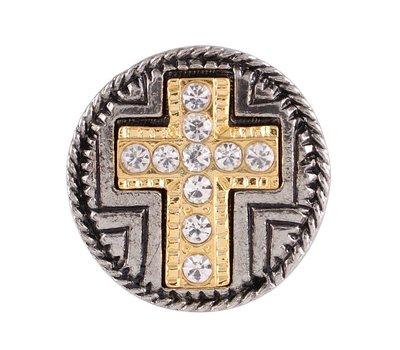 Clicks en Chunks | Click kruis goudkleurig crystals voor clicks sieraden