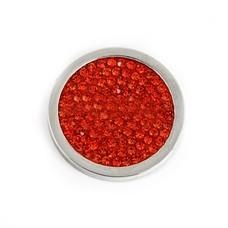 Munt voor Muntketting Full crystals rood smal zilverkleurig