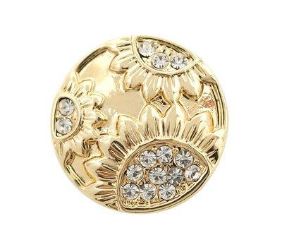 Clicks en Chunks | Click bloemen strass goudkleurig voor clicks sieraden