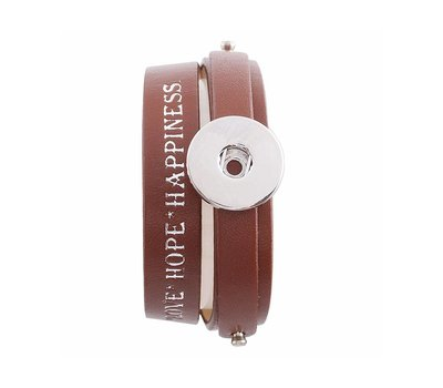 Clicks Sieraden Clicks armband leer bruin love hope happiness 1 click