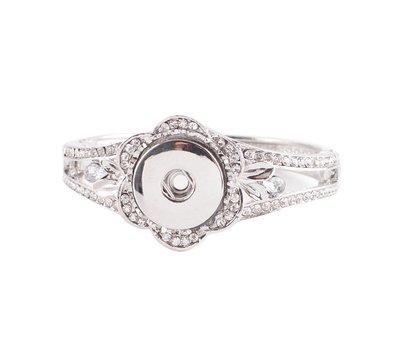 Clicks Sieraden Clicks armband bloem strass zilverkleurig