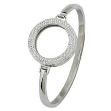 Armband voor munten Armband Zilverkleurig smal met strass van Roestvrij Staal